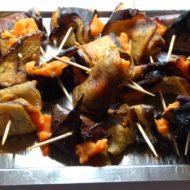 Auberginenröllchen mit Süßkartoffel-Meerrettich-Creme