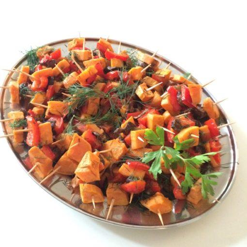 Süßkartoffel-Paprika-Steinchampignon-Spieße